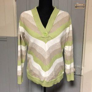 Liz Claiborne Green & Tan Striped V-Neck Sweater